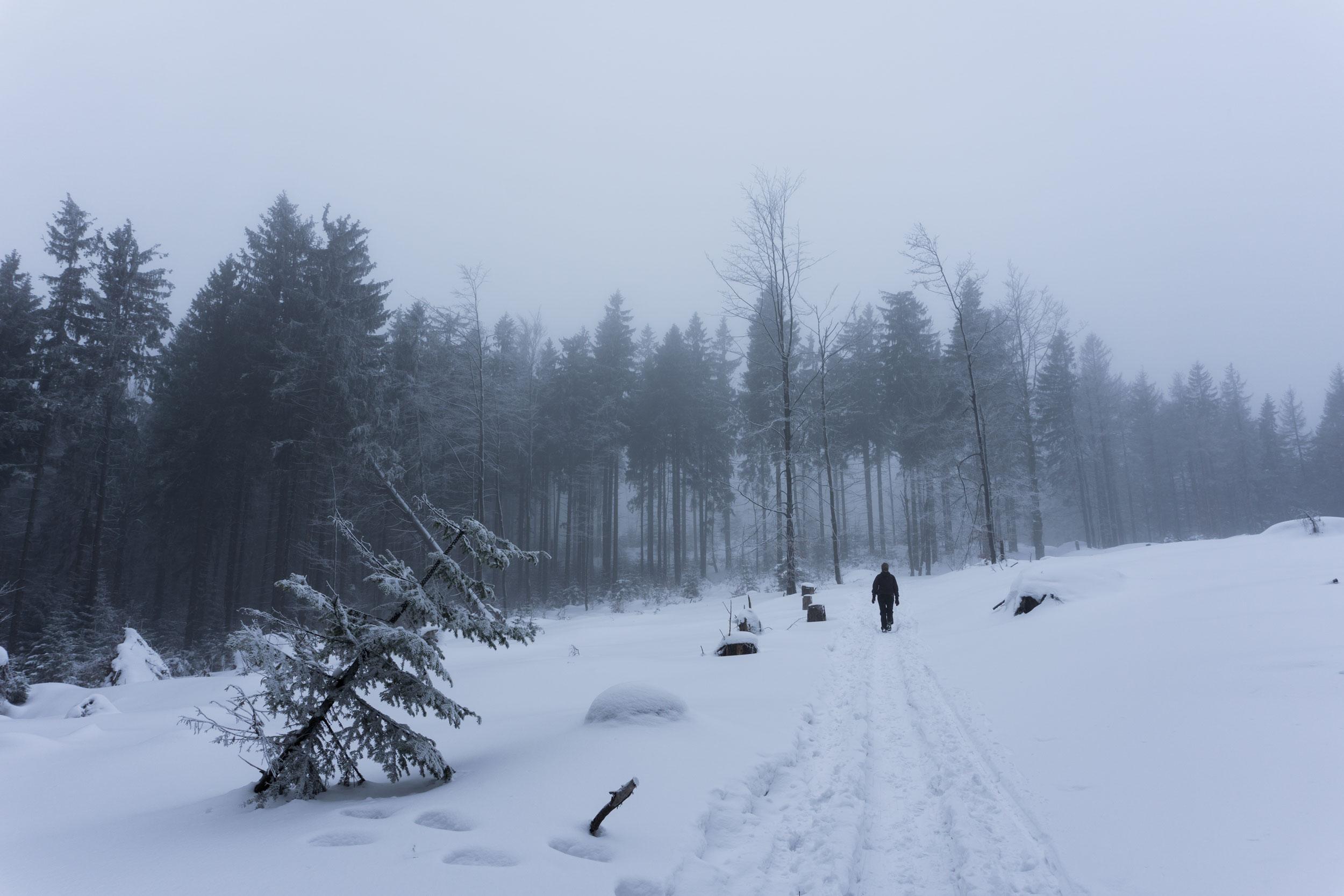 Beskydskou hraniční hřebenovkou po kolena ve sněhu na Bílý Kříž