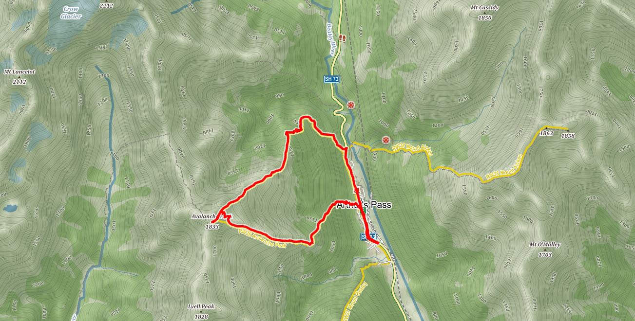 Trasa na Avalanche Peak na Novém Zélandu
