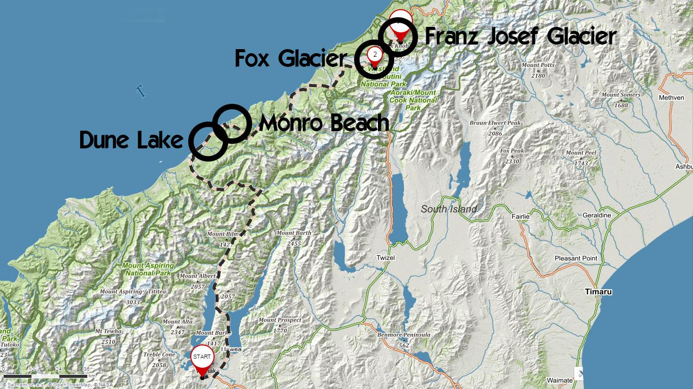 Trasa z Wanaky k ledovci Franz Josef se zastávkami na západním pobřeží