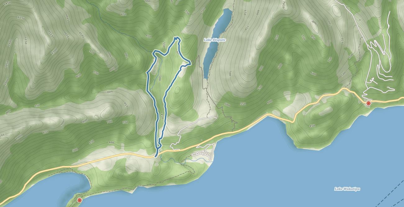 Trasa údolím pod Mount Crichton na Novém Zélandu