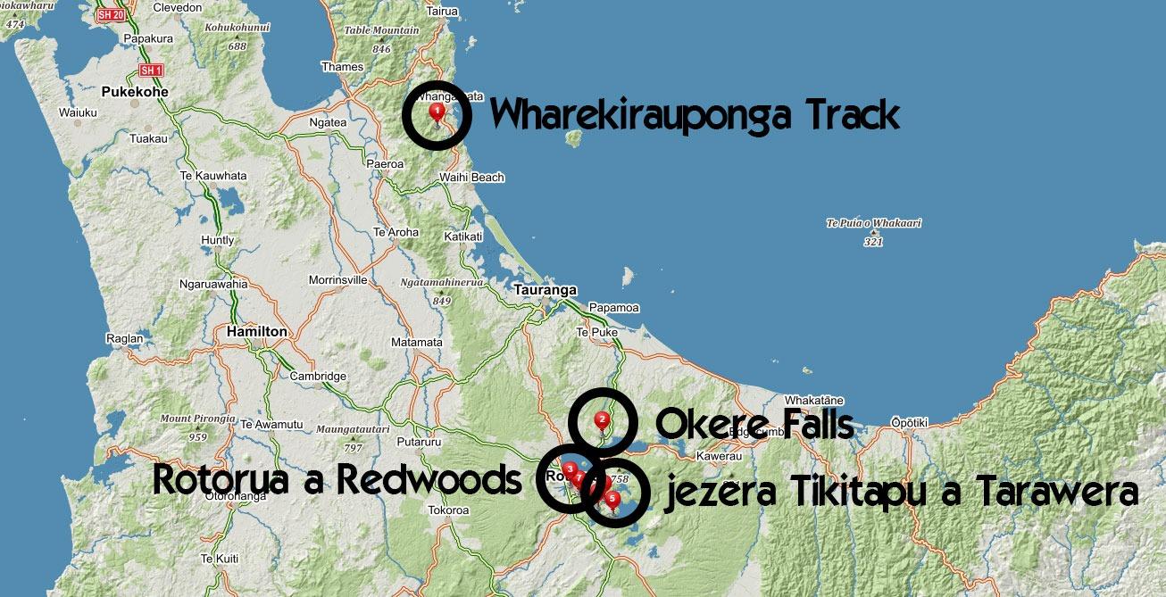Popisovaná místa z příspěvku v okolí Rotoruy na Novém Zélandu