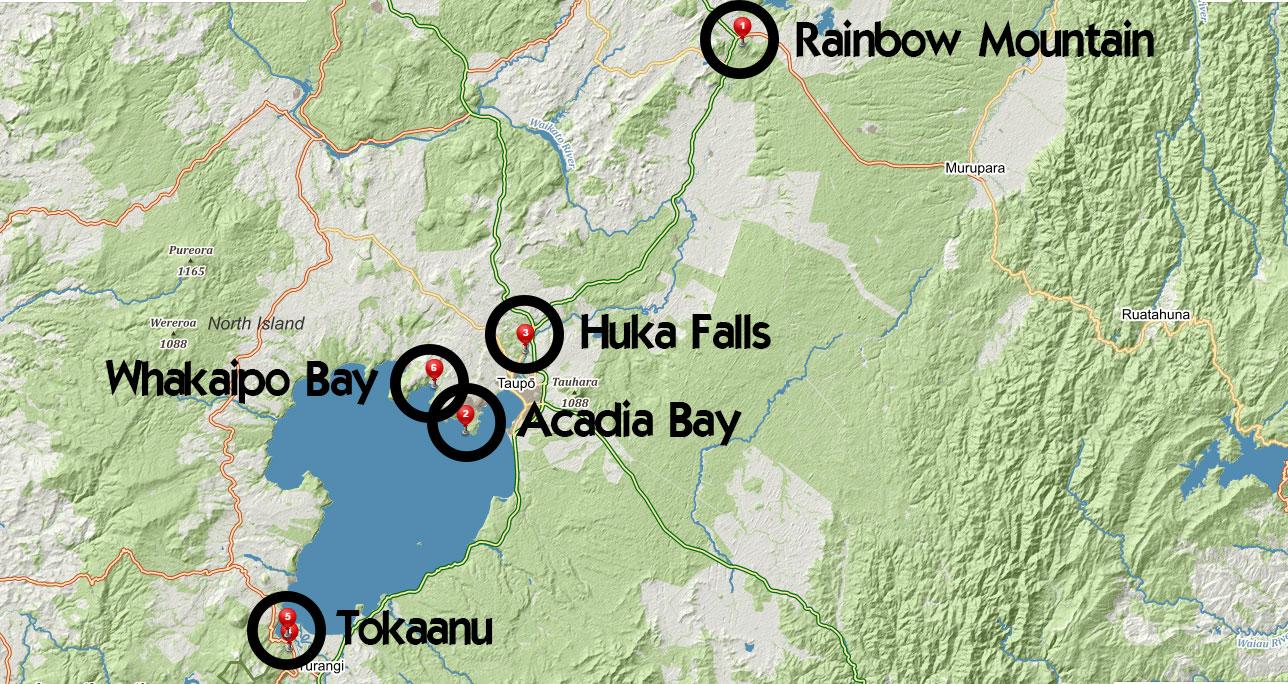 Popisovaná místa z příspěvku u jezera Taupo na Novém Zélandu