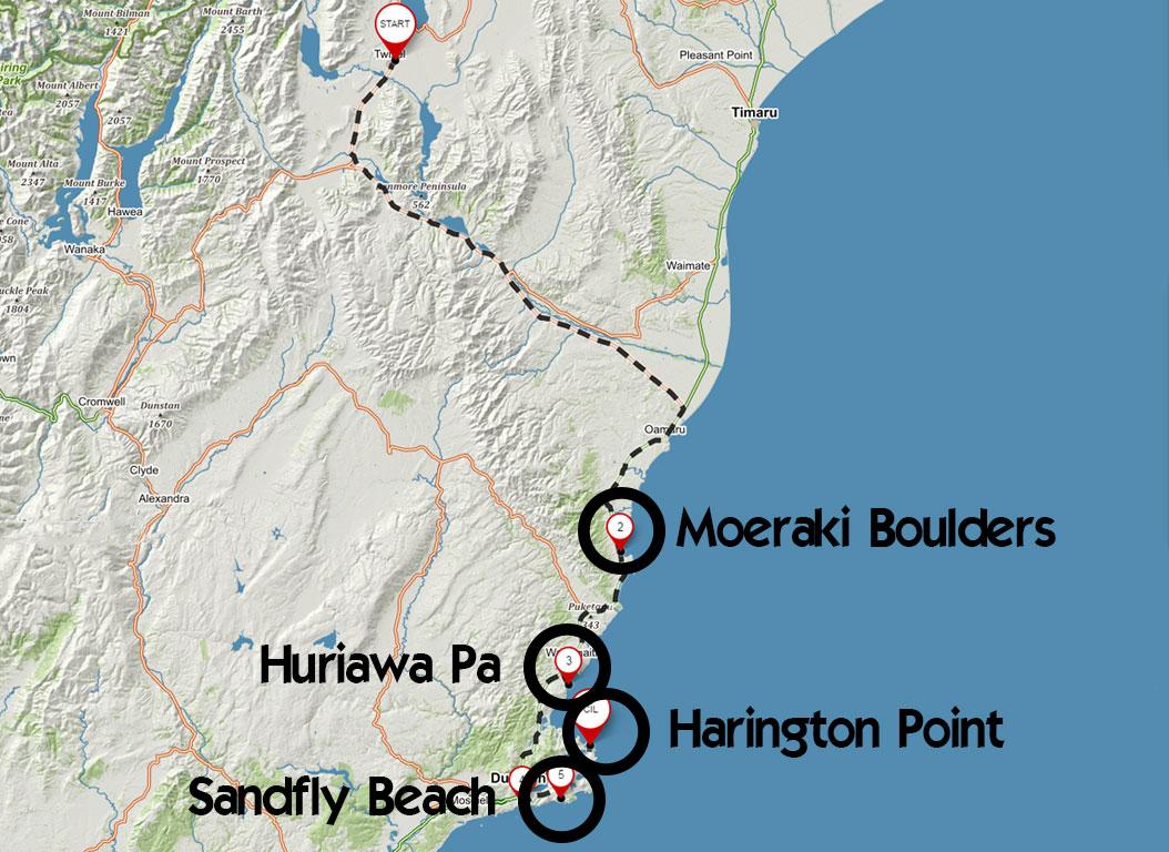 Trasa z Twizelu do Dunedinu s našimi zastávkami