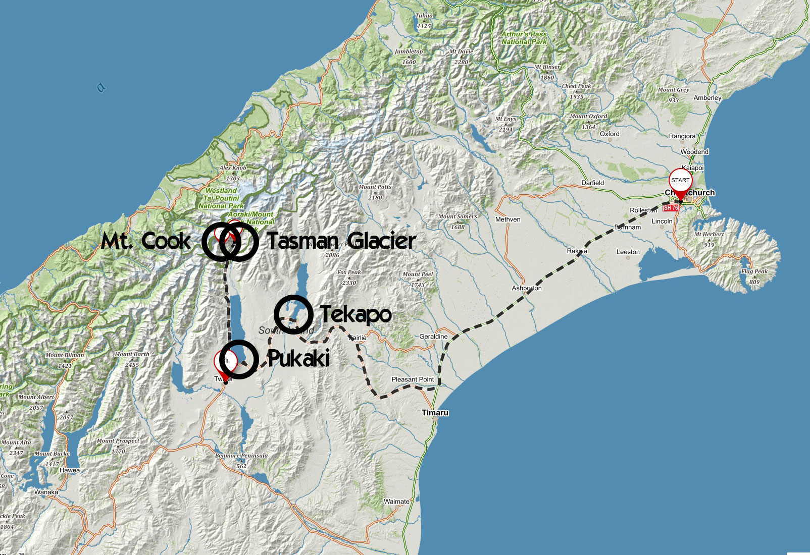Trasa z Christchurch přes jezera Tekapo a Pukaki k Mount Cook, kterou jsme absolvovali autem