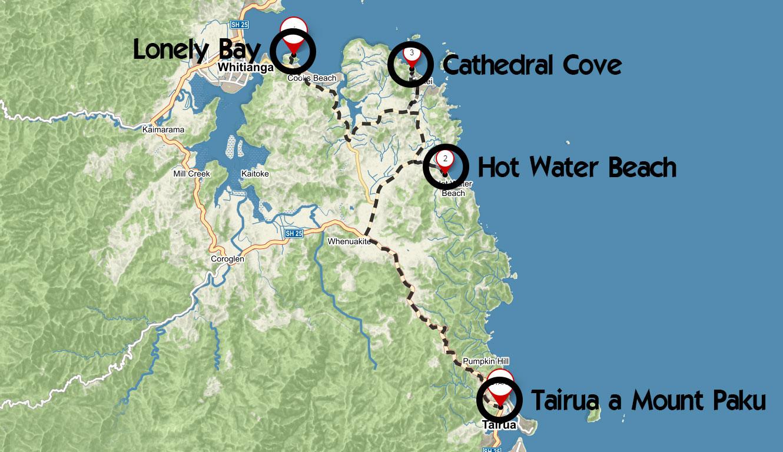 Popisovaná trasa po poloostrově Coromandel na Novém Zélandu