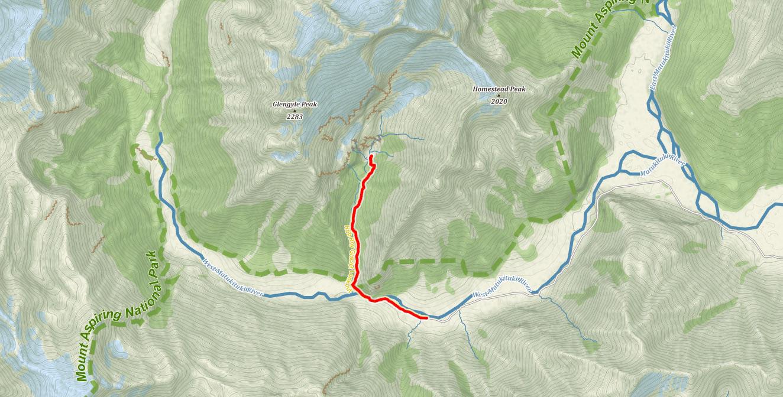 Trasa k ledovci Rob Roy na Novém Zélandu