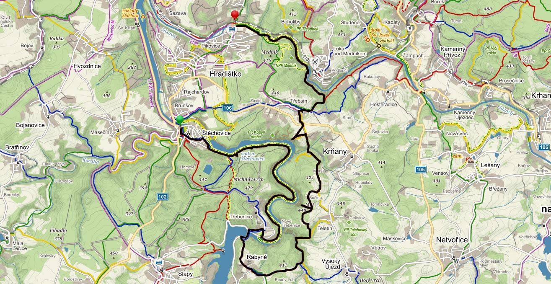 Trasa ze Štěchovic proti proudu Vltavy přes vyhlídku Máj k Sázavě
