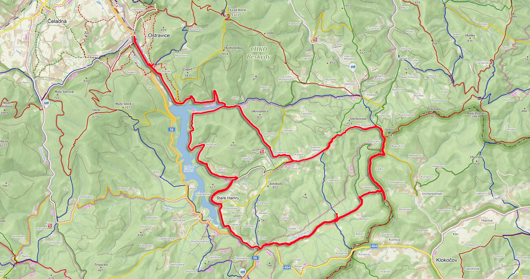 Trasa z Ostravice přes Bílý Kříž a Doroťanku