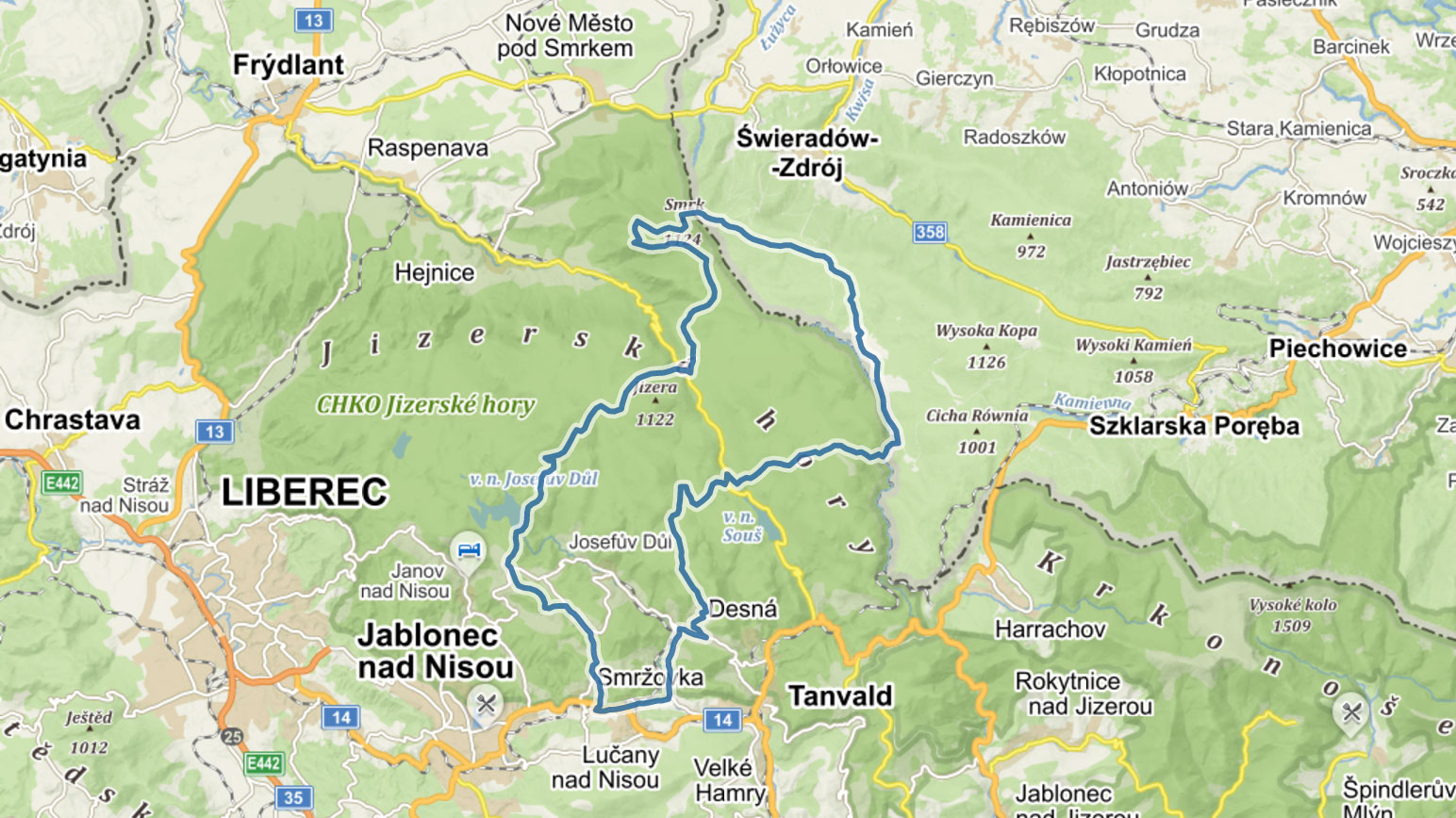 Trasa na kole po Jizerkách aneb přes Jizerku, Smrk a kolem Jizery