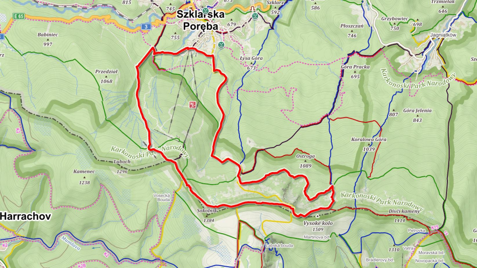 Popisovaná trasa po hřebenech Krkonoš
