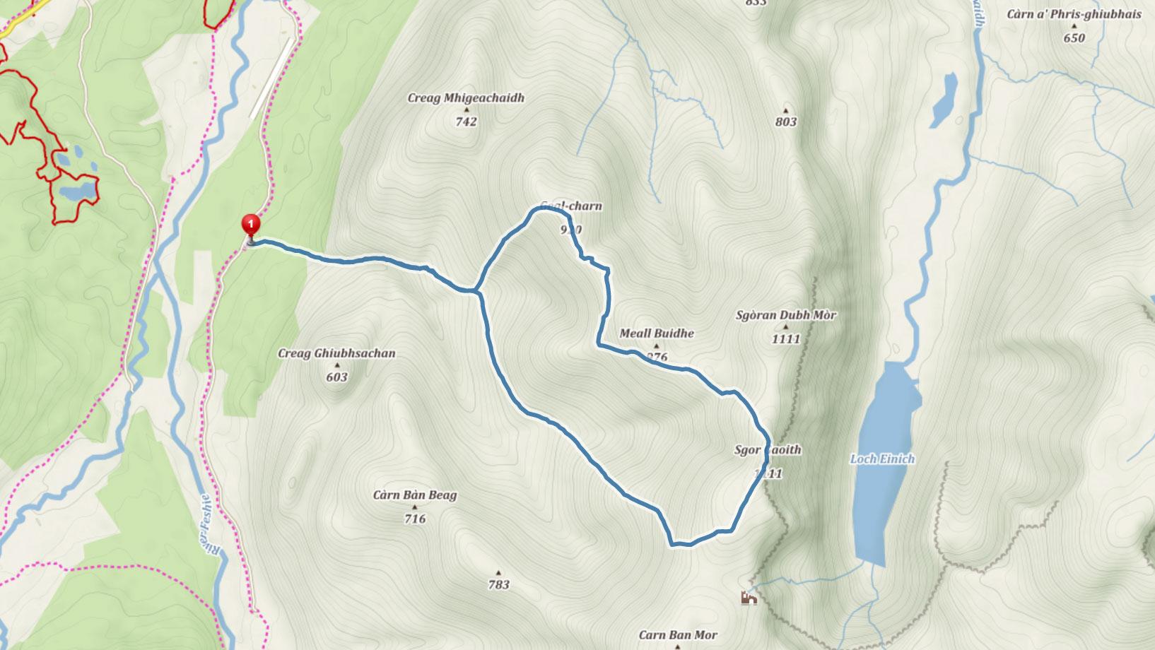Popisovaná trasa na Sgor Gaoith