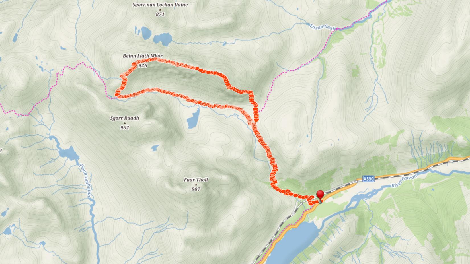 Popisovaná trasa na Beinn Liath Mhor