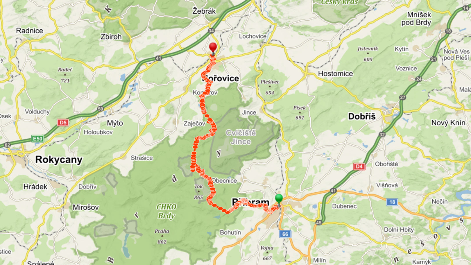 Popisovaná trasa přes Brdy