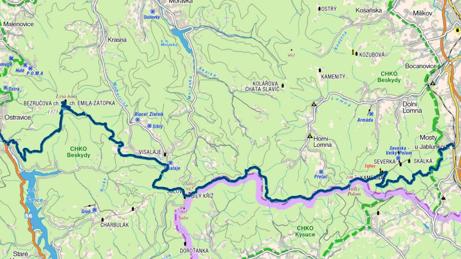 Trasa z Mostů u Jablunkova na Ostravici přes Polomy a Lysou horu