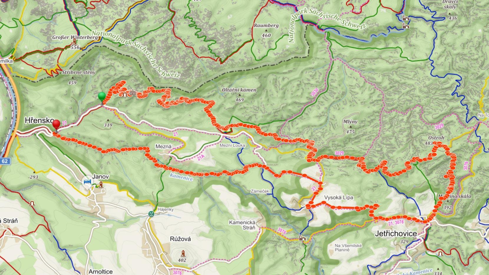 Popisovaná trasa napříč Českým Švýcarskem