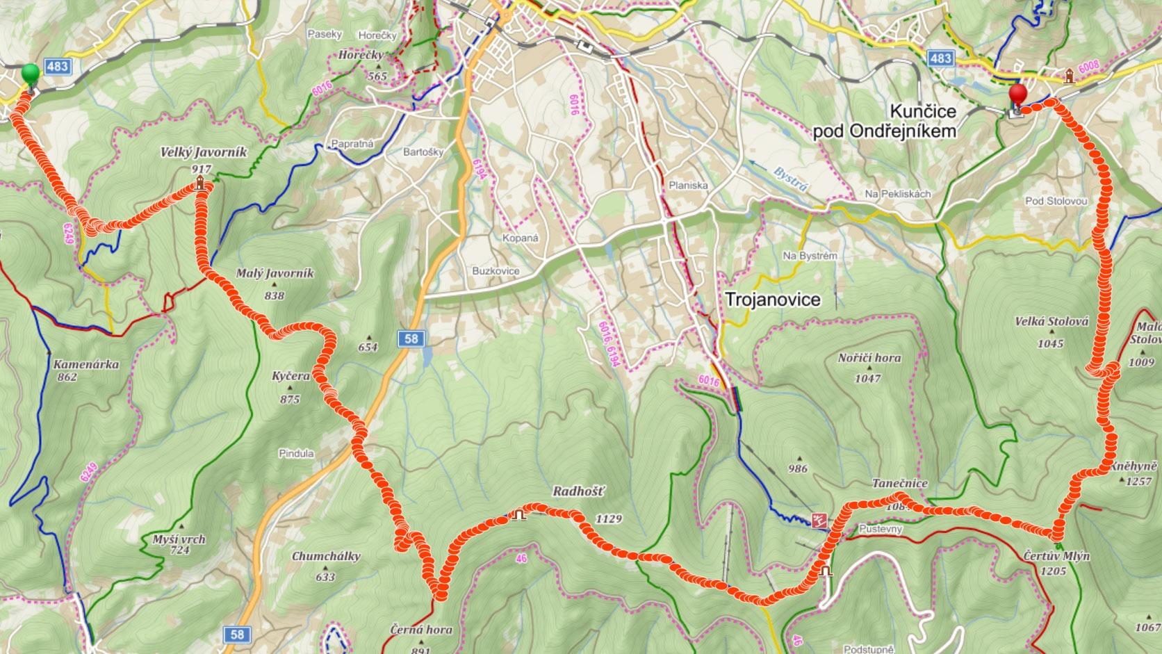 Trasa z Veřovic do Kunčic přes Velký Javorník, Radhošť a Četrův mlýn