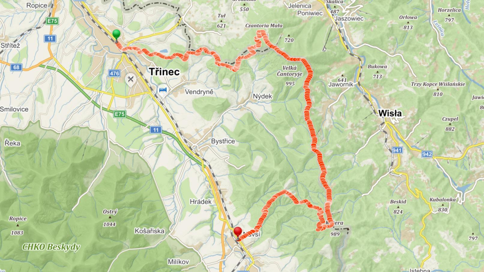 Popisovaná trasa přes Těšínské Beskydy