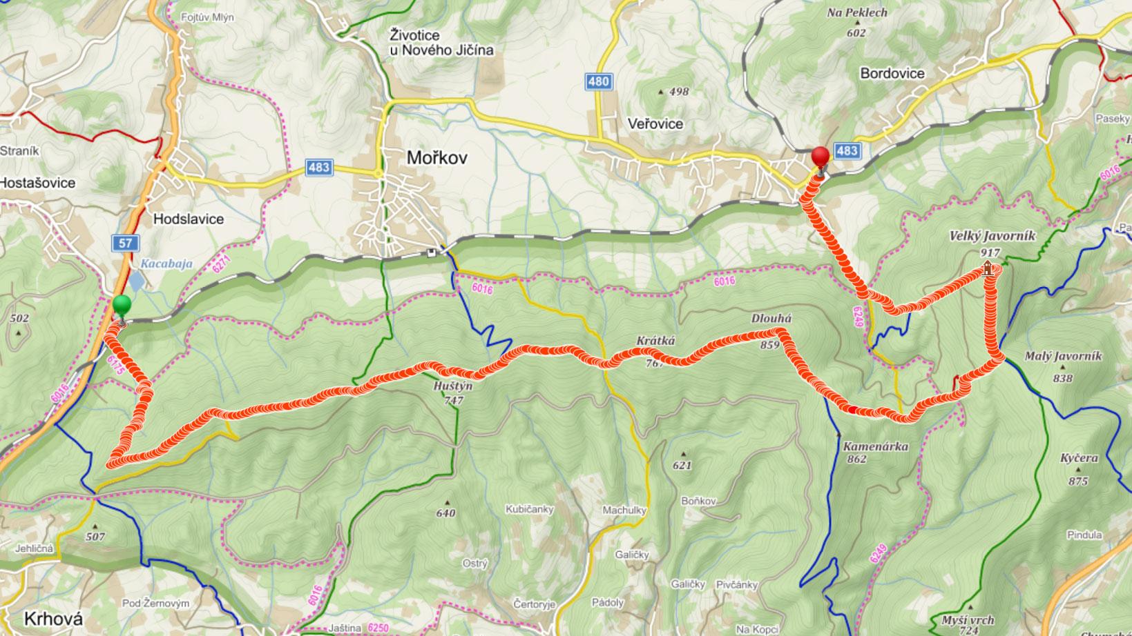 Popisovaná trasa přes Veřovické vrchy