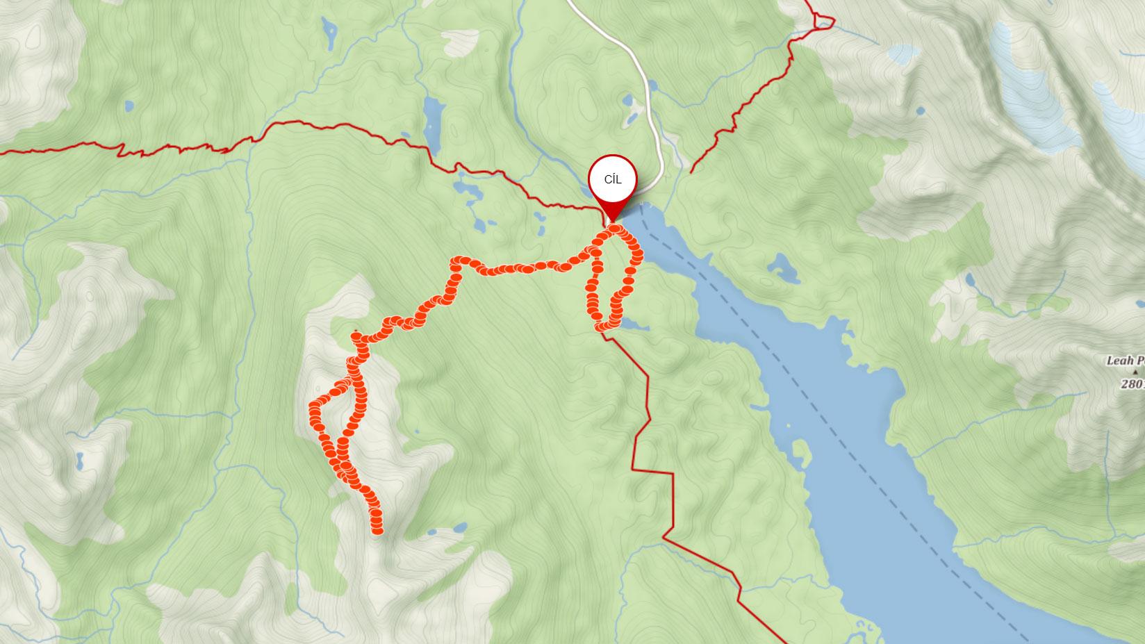 Popisovaná trasa na Bald Hills nad Maligne Lake