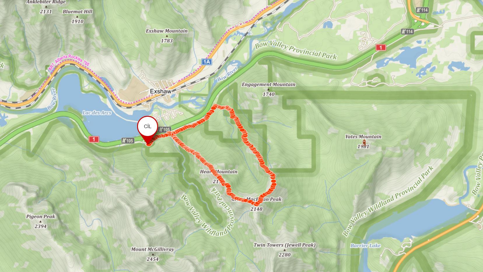 Popisovaná trasa na Heart Mountain v Kanadě