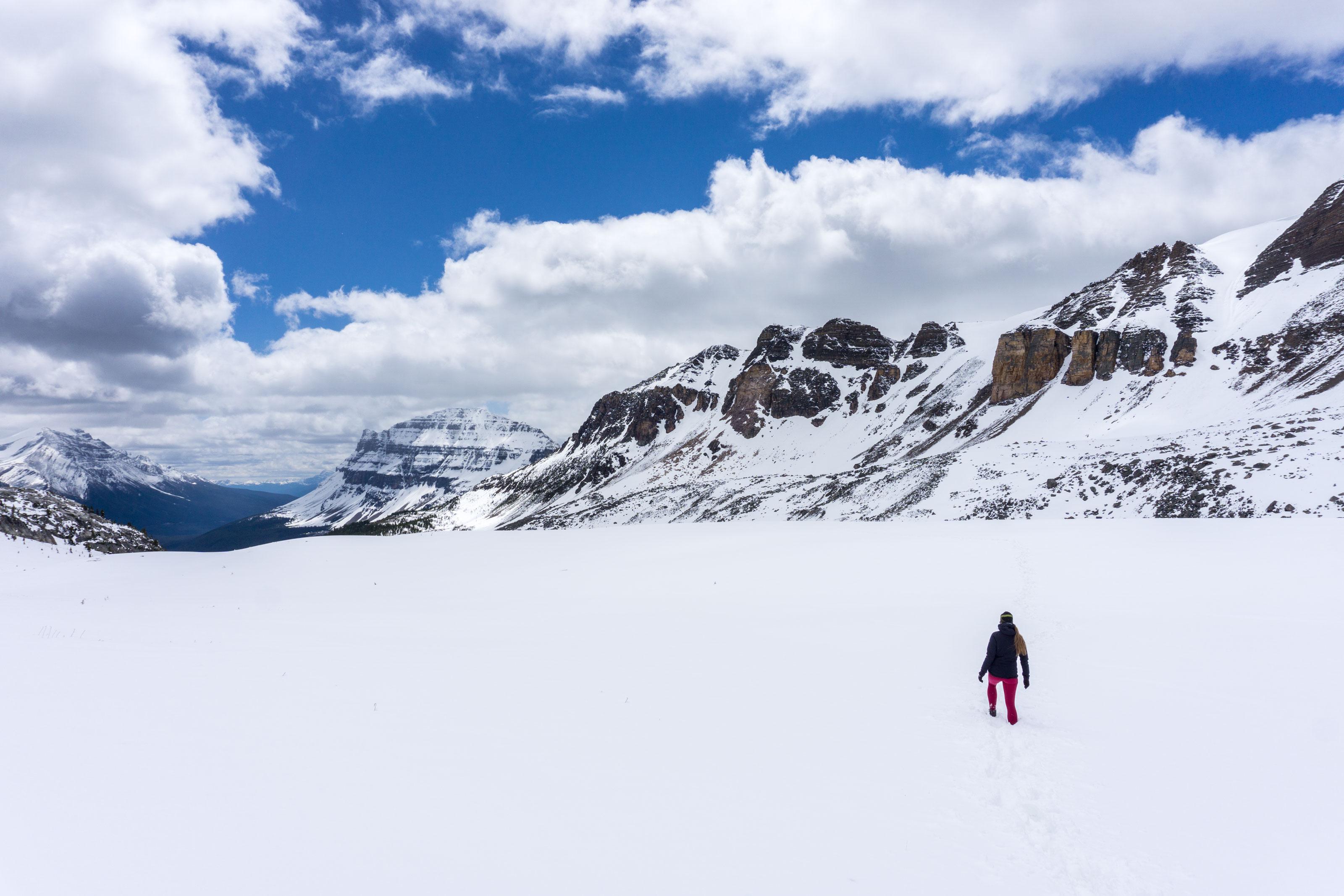 Po koule ve sněhu k Helen Lake a procházka kolem Bow Lake