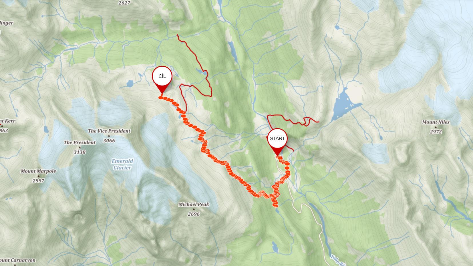 Trasa po Iceline trailu nad Yoho Valley