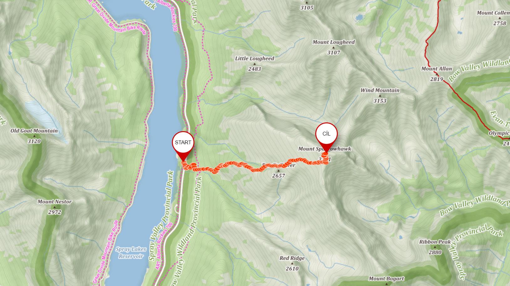 Popisovaná trasa na Mount Sparrowhawk v Kanadě