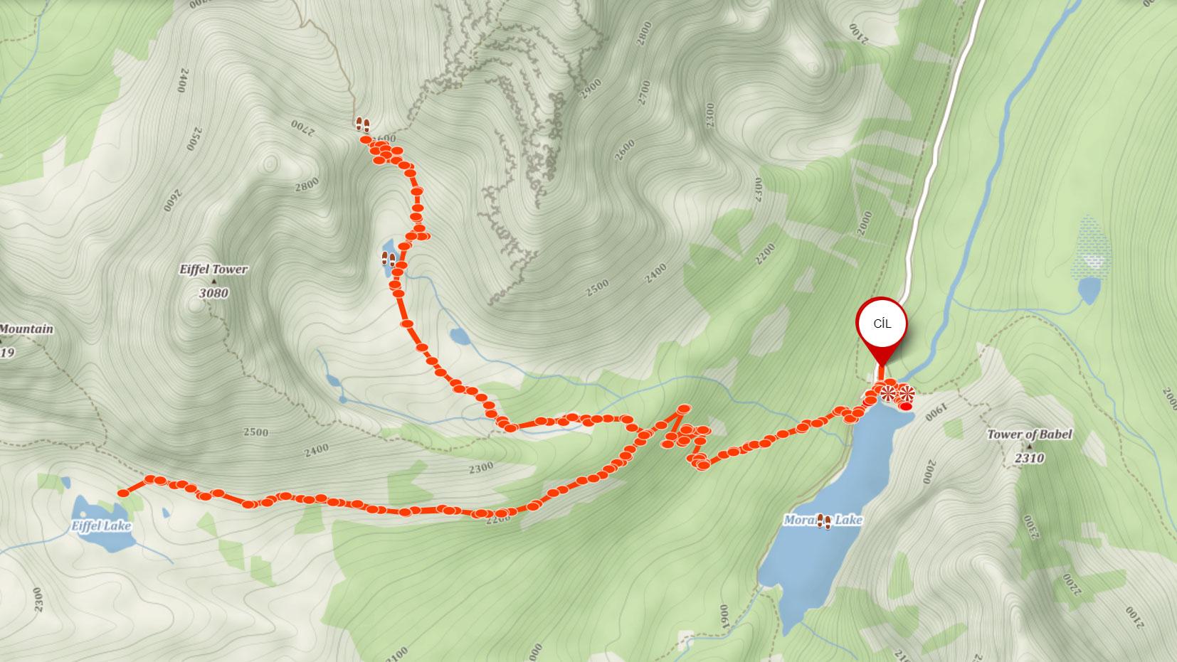 Popisovaná trasa od Moraine Lake na Sentinel Pass a Eiffel Lake