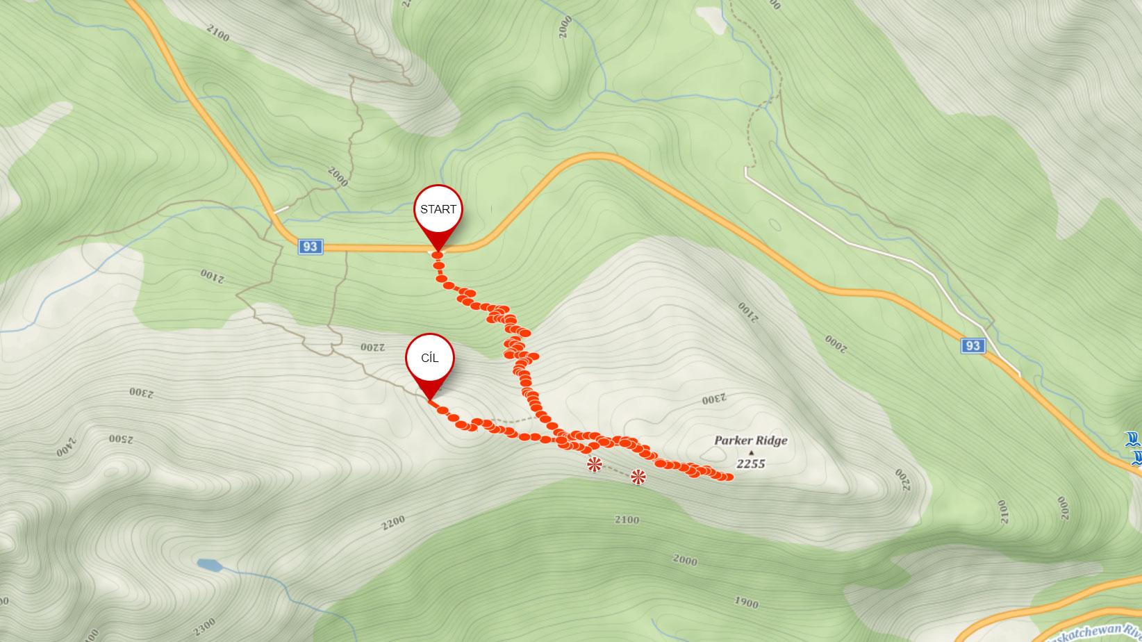 Popisovaná trasa na Parker Ridge v Kanadě
