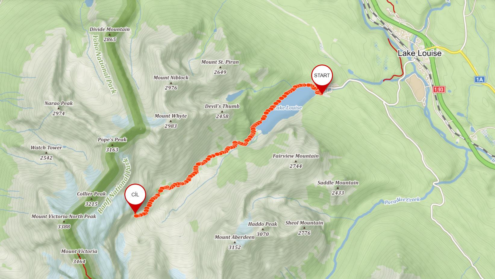 Popisovaná trasa po pláni šesti ledovců u Lake Louise