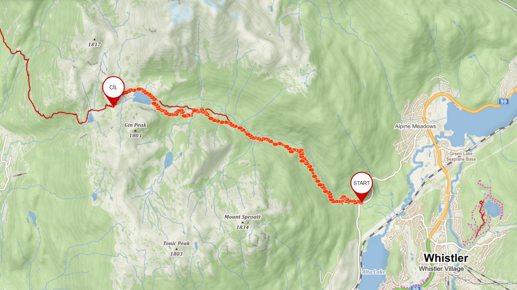 Zamýšlená trasa na Rainbow Lake u Whistleru