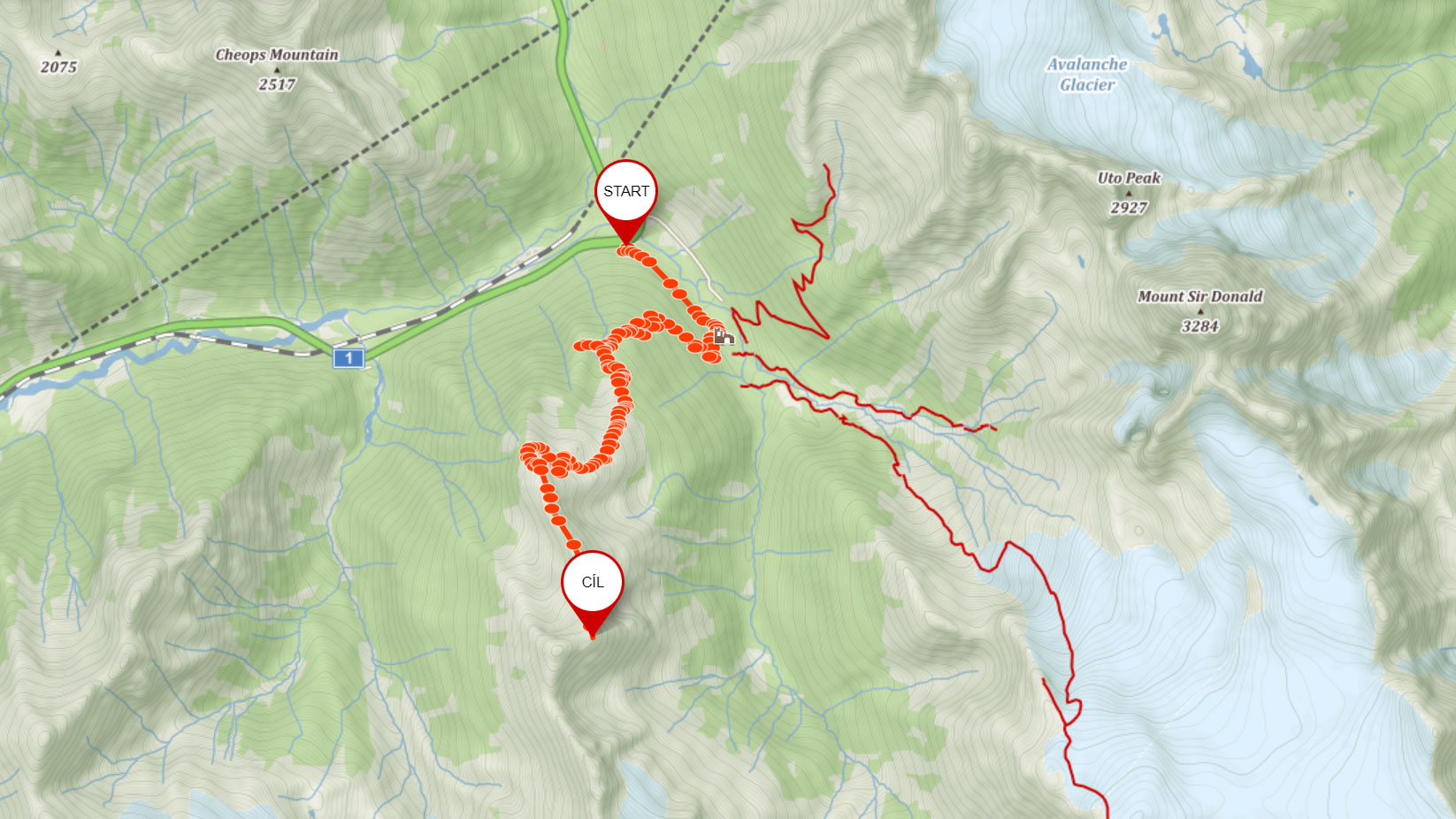 Trasa na Abbott Ridge v Glacier National Park v Kanadě