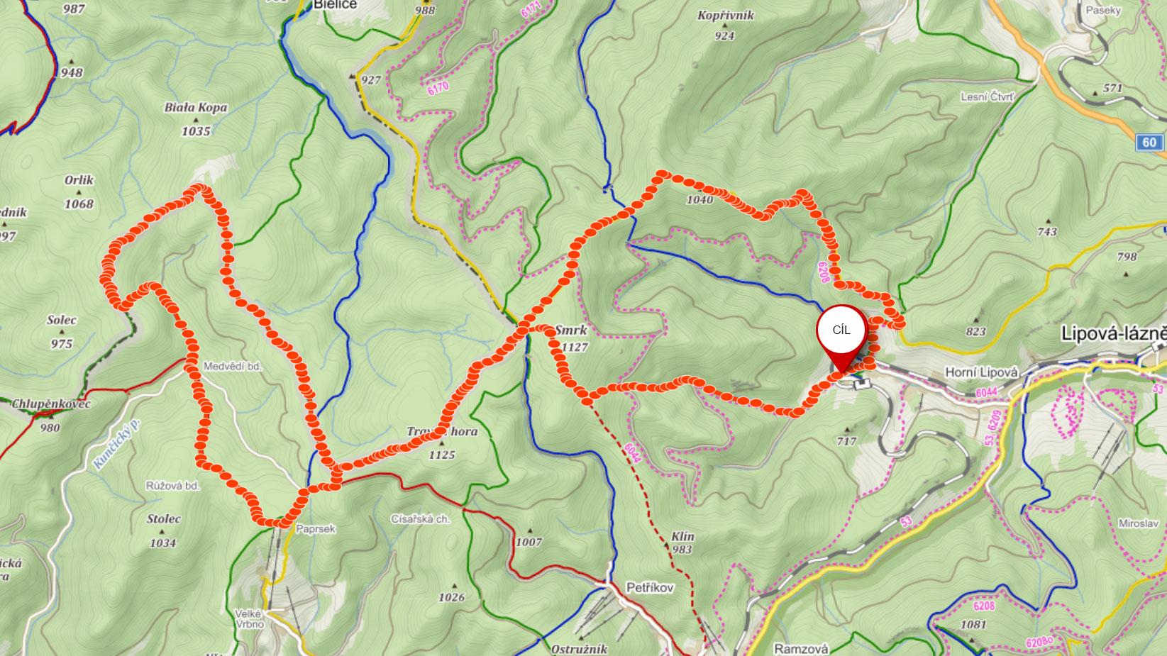 Popisovaná trasa přes hraniční hřeben Rychlebských hor