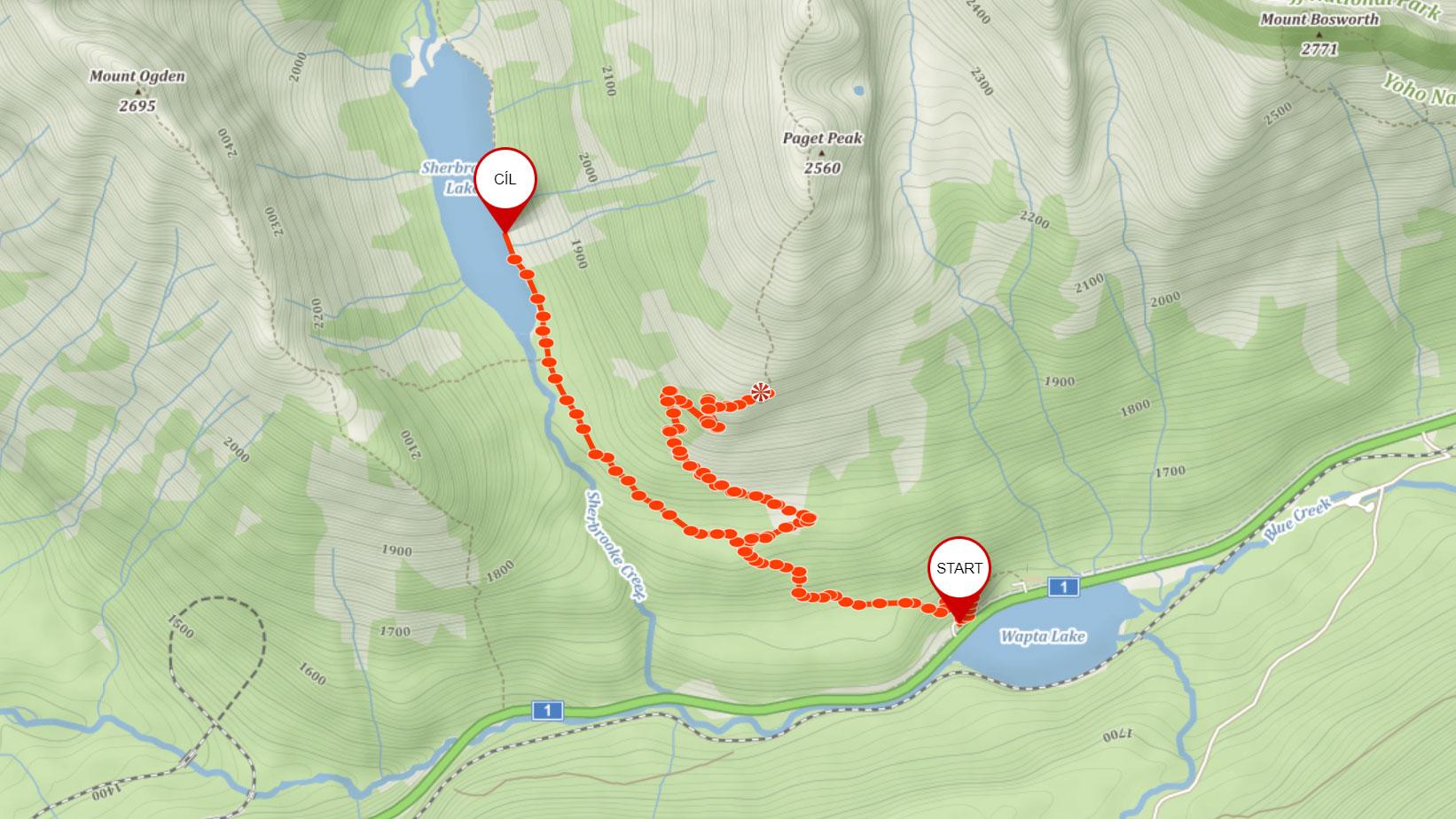 Popisovaná trasa na Paget Lookout a k Sherbrooke Lake