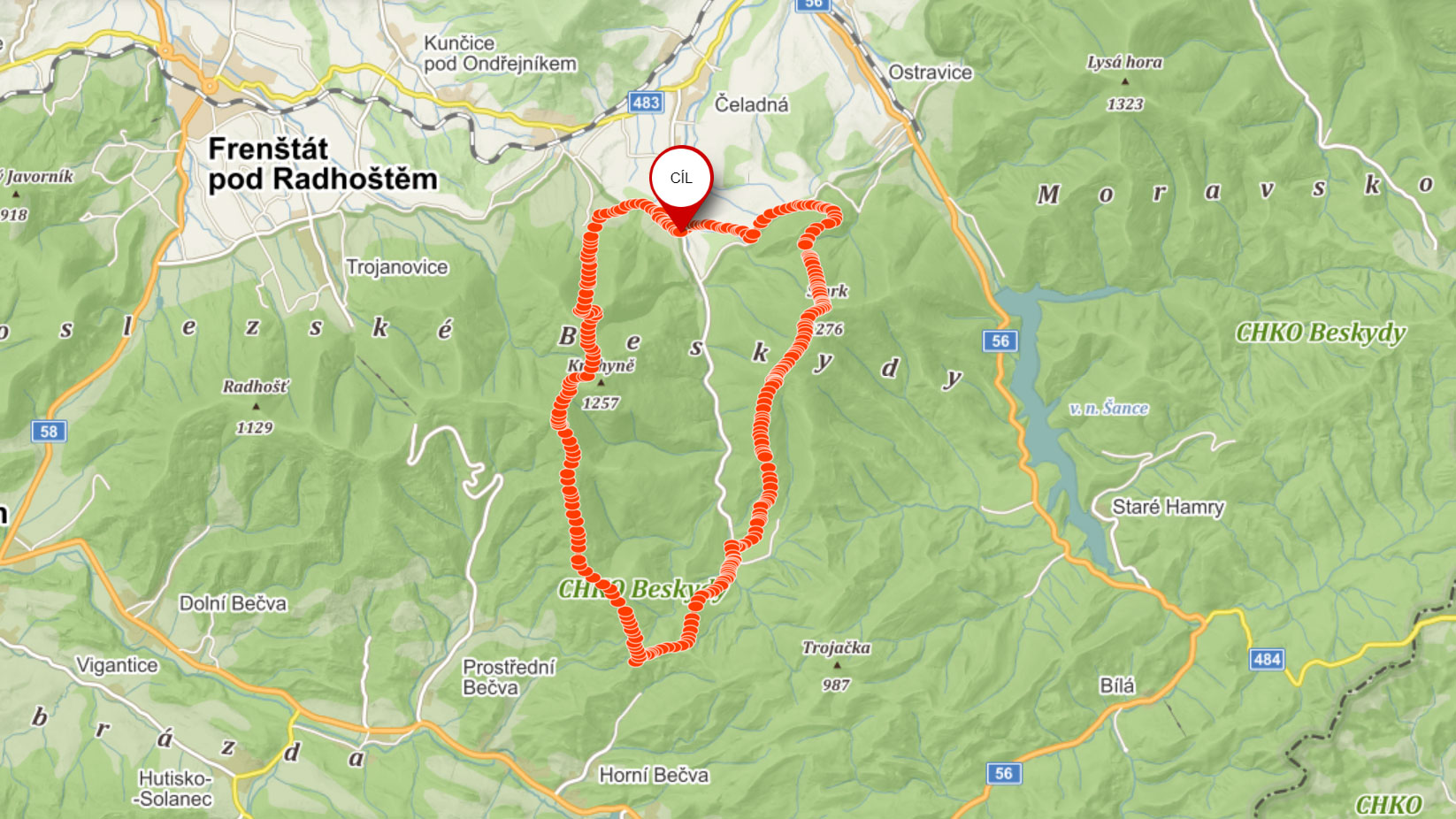 Popisovaná trasa z Čeladné na Smrk a Čertův Mlýn