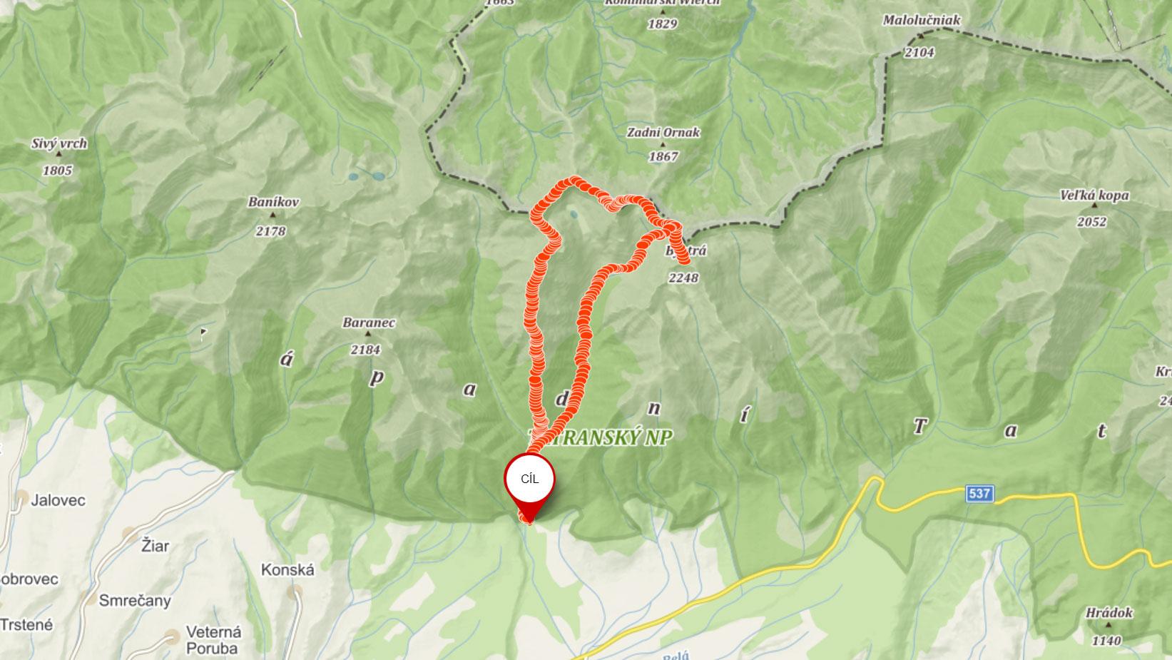 Popisovaná trasa přes Otrhance na Bystrou v Západních Tatrách