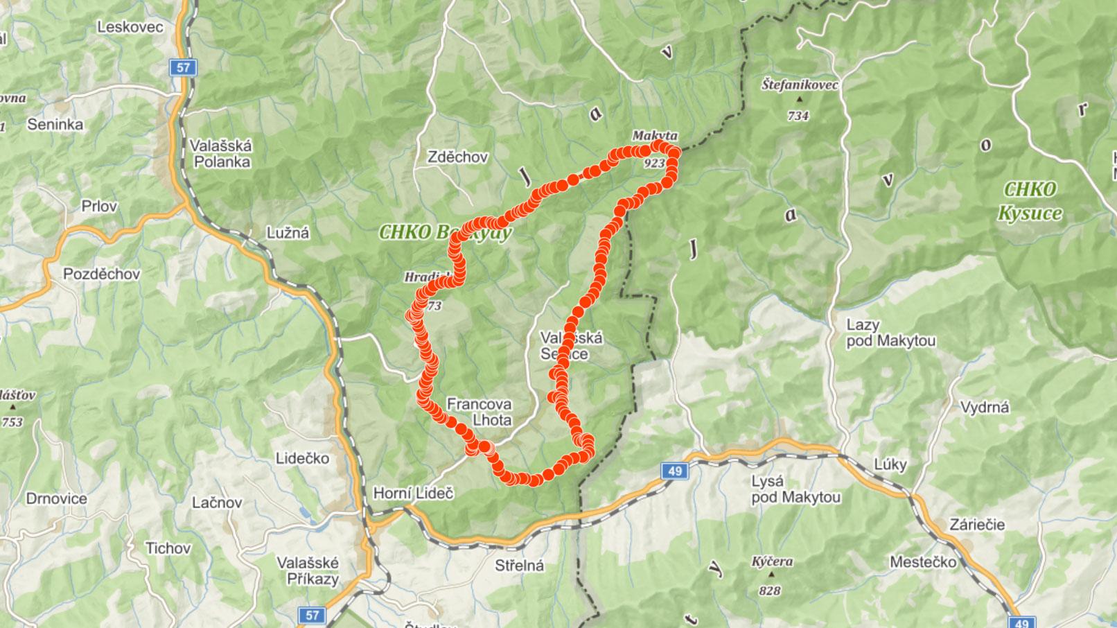 Popisovaná trasa přes Pulčínské skály a Makytu v Javornících