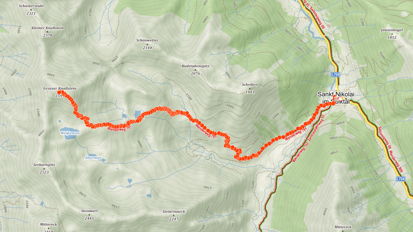 Trasa na Grosser Knallstein v Rakousku
