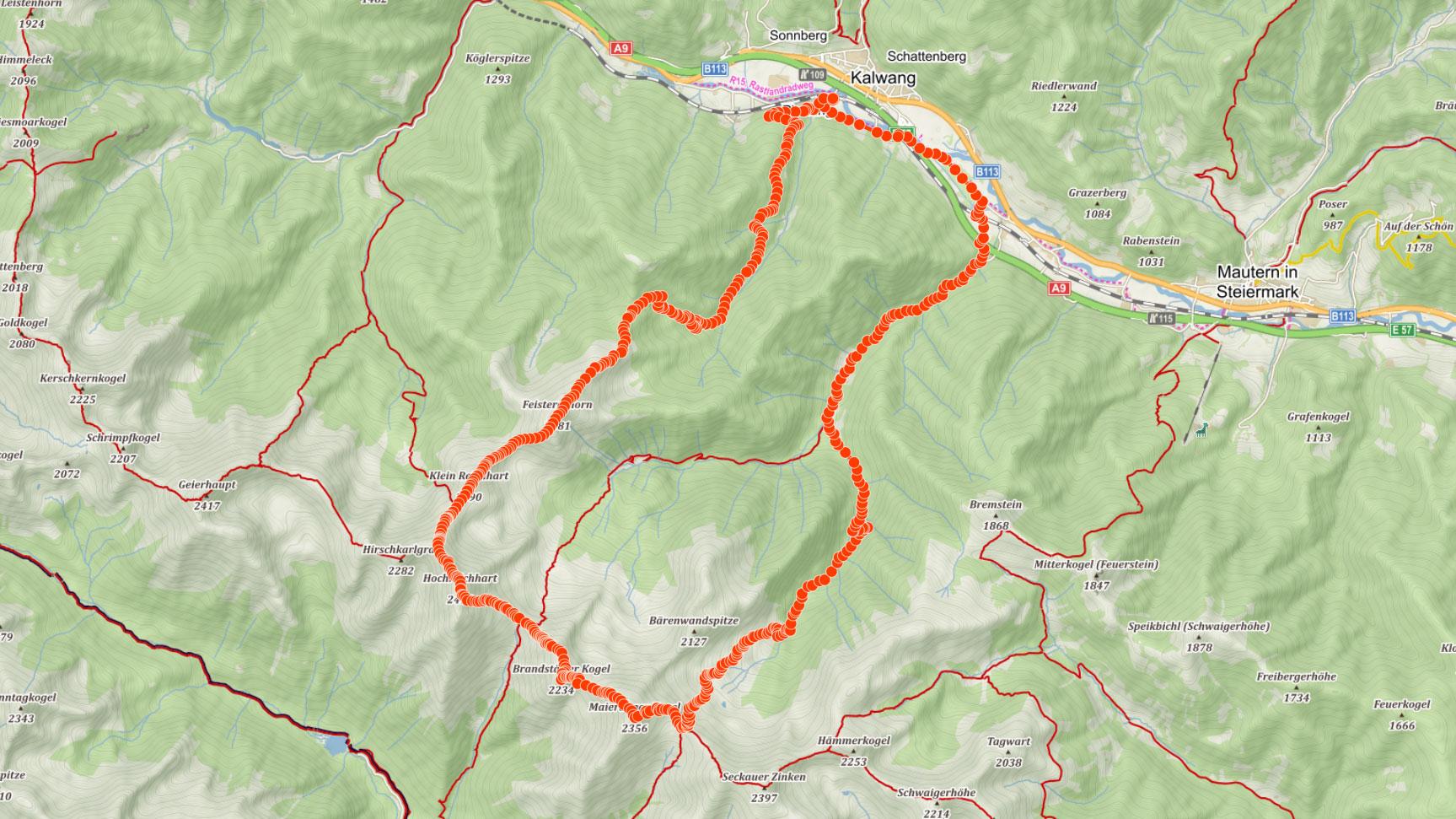 Trasa na Hochreichart a po hřebeni Seckauských Alp v Rakousku