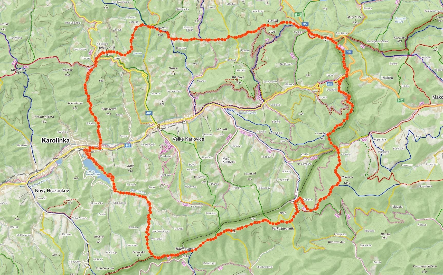 Trasa z Karolinky po hřebeni Vsetínských vrchů a Javorníků