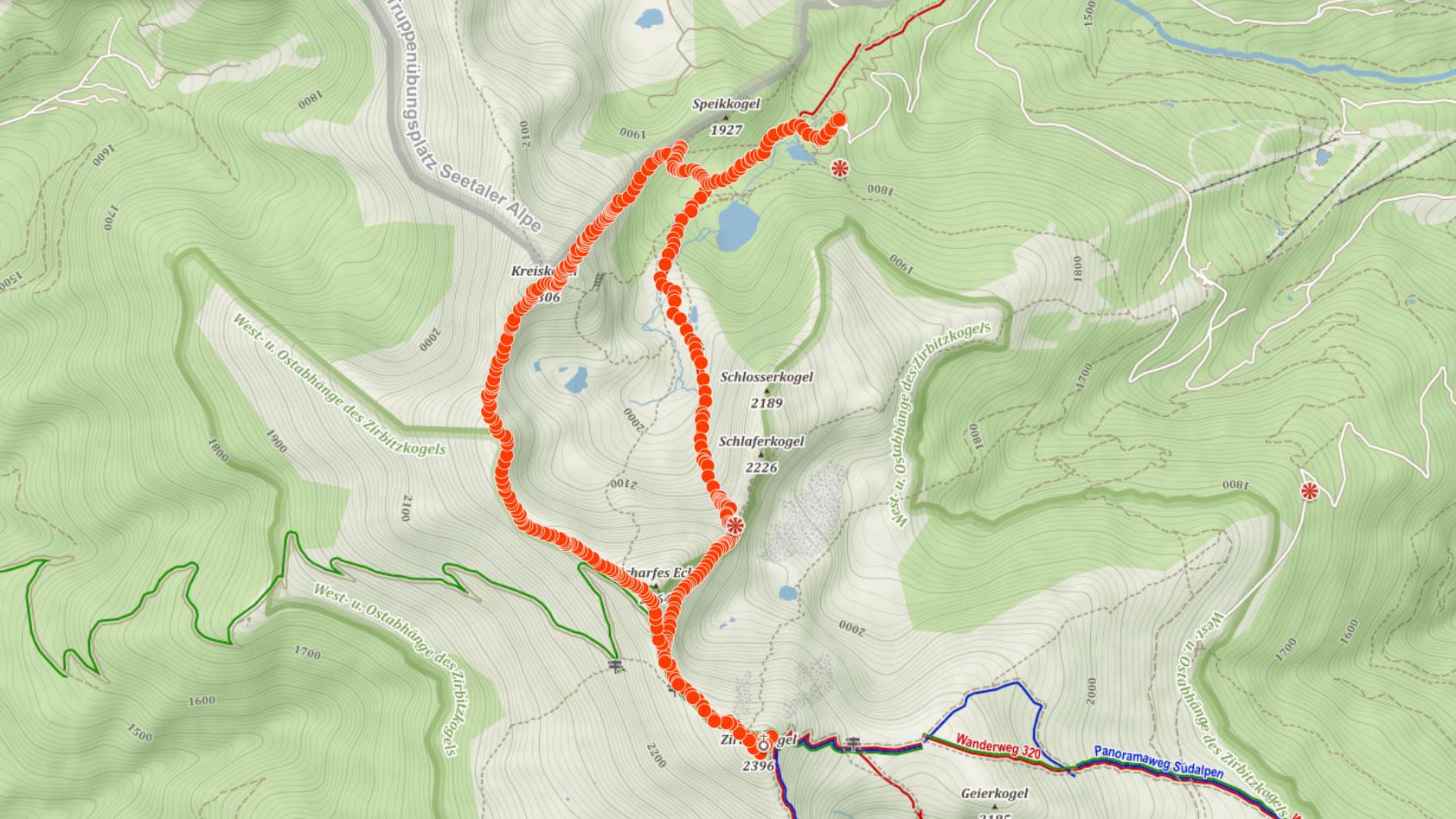 Trasa na Zirbitzkogel a Kreiskogel v Rakousku