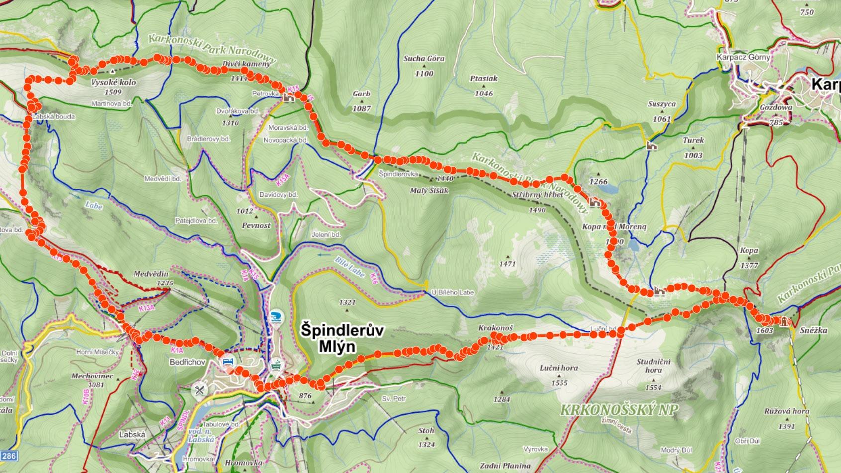 Trasa ze Špindlerova Mlýna přes Sněžku, Vysoké kolo a Labský vodopád