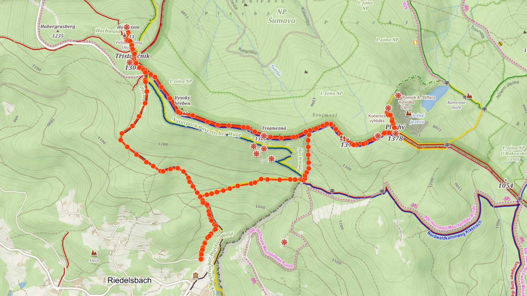 Trasa na Plechý, Trojmezí, Třístoličník a Hochstein na Šumavě