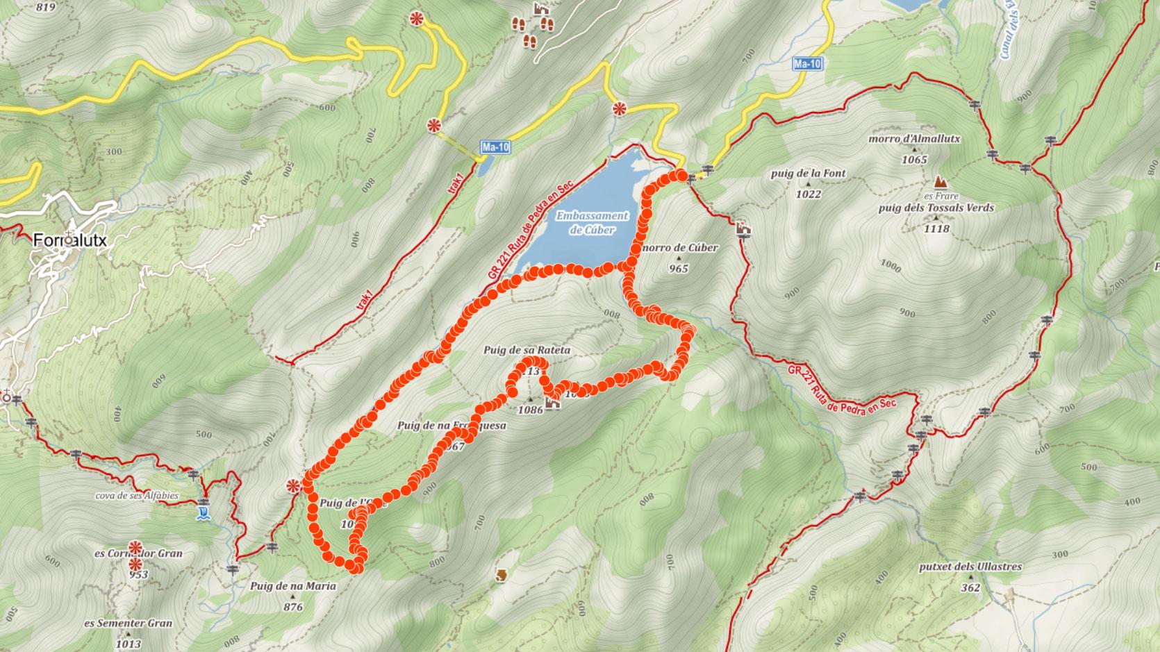 Trasa na Puig de sa Rateta, Puig de na Franquesa a Puig de l'Ofre na Mallorce