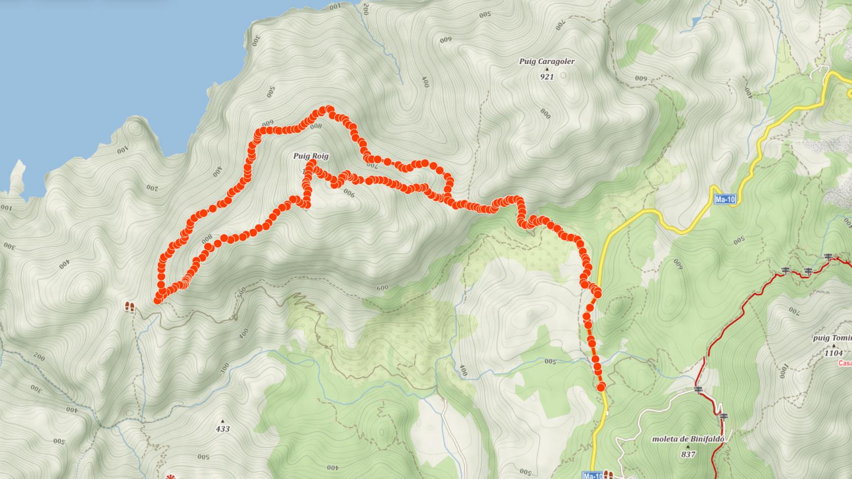 Trasa na Puig Roig na Mallorce