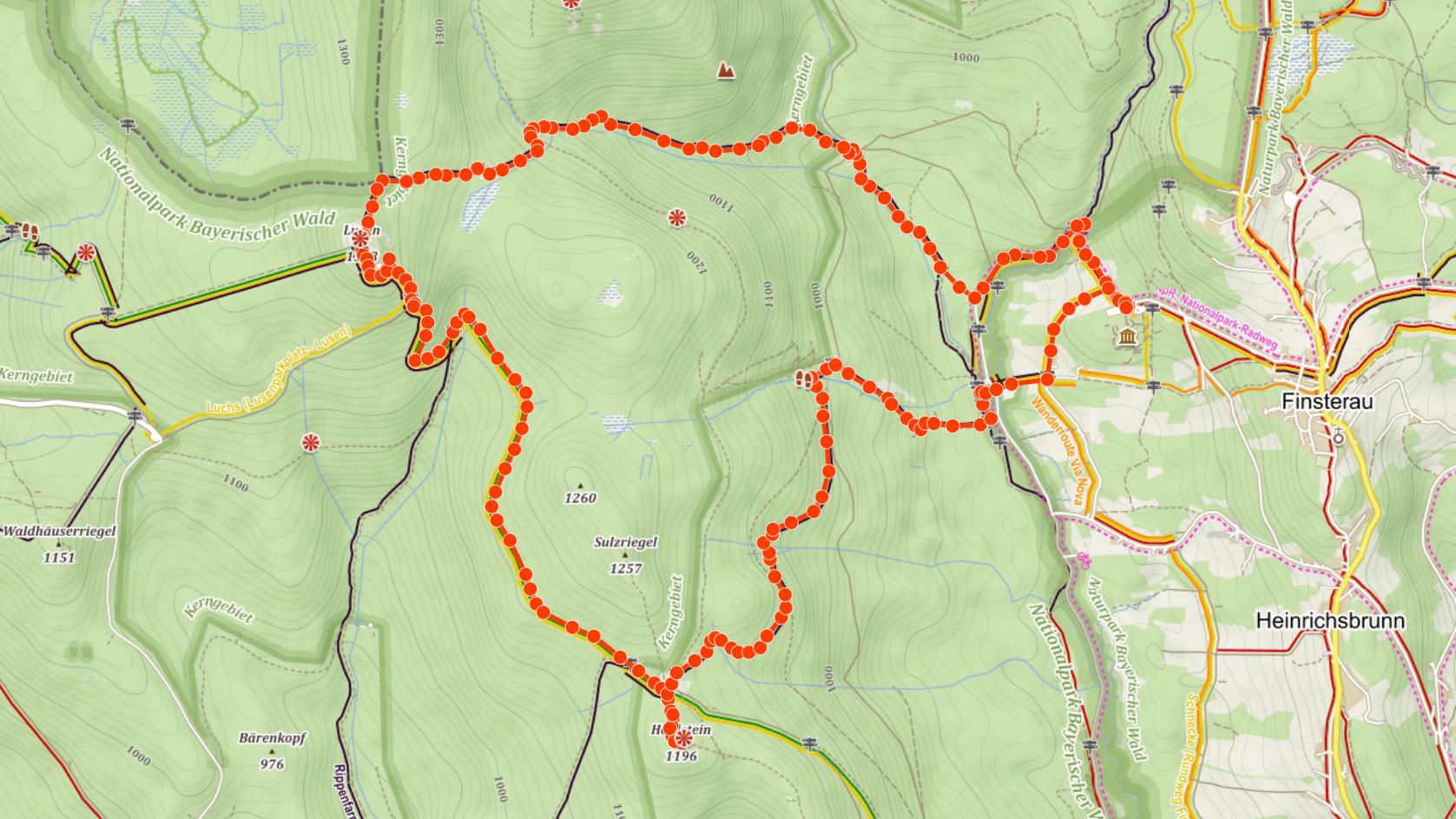 Trasa na Luzný a Holhstein na Šumavě