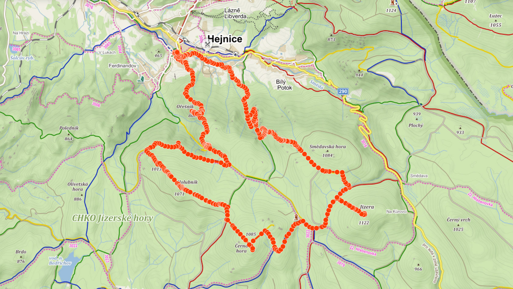 Okružní trasa z Hejnic na Holubník, Jizeru a Polední kameny přes vodopád Velký Štolpich