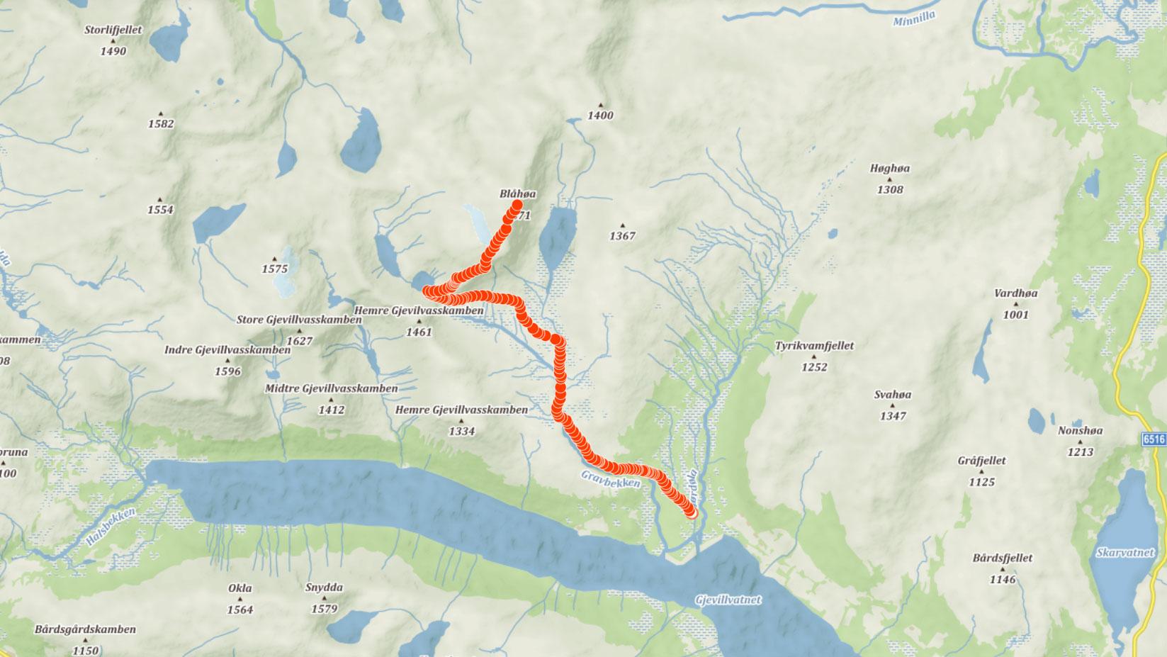 Výstupová trasa na horu Blåhøa v Norsku