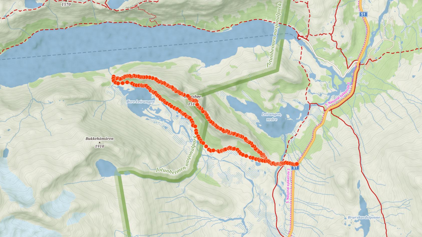 Trasa na Knutshøe v národním parku Jotunheimen v Norsku