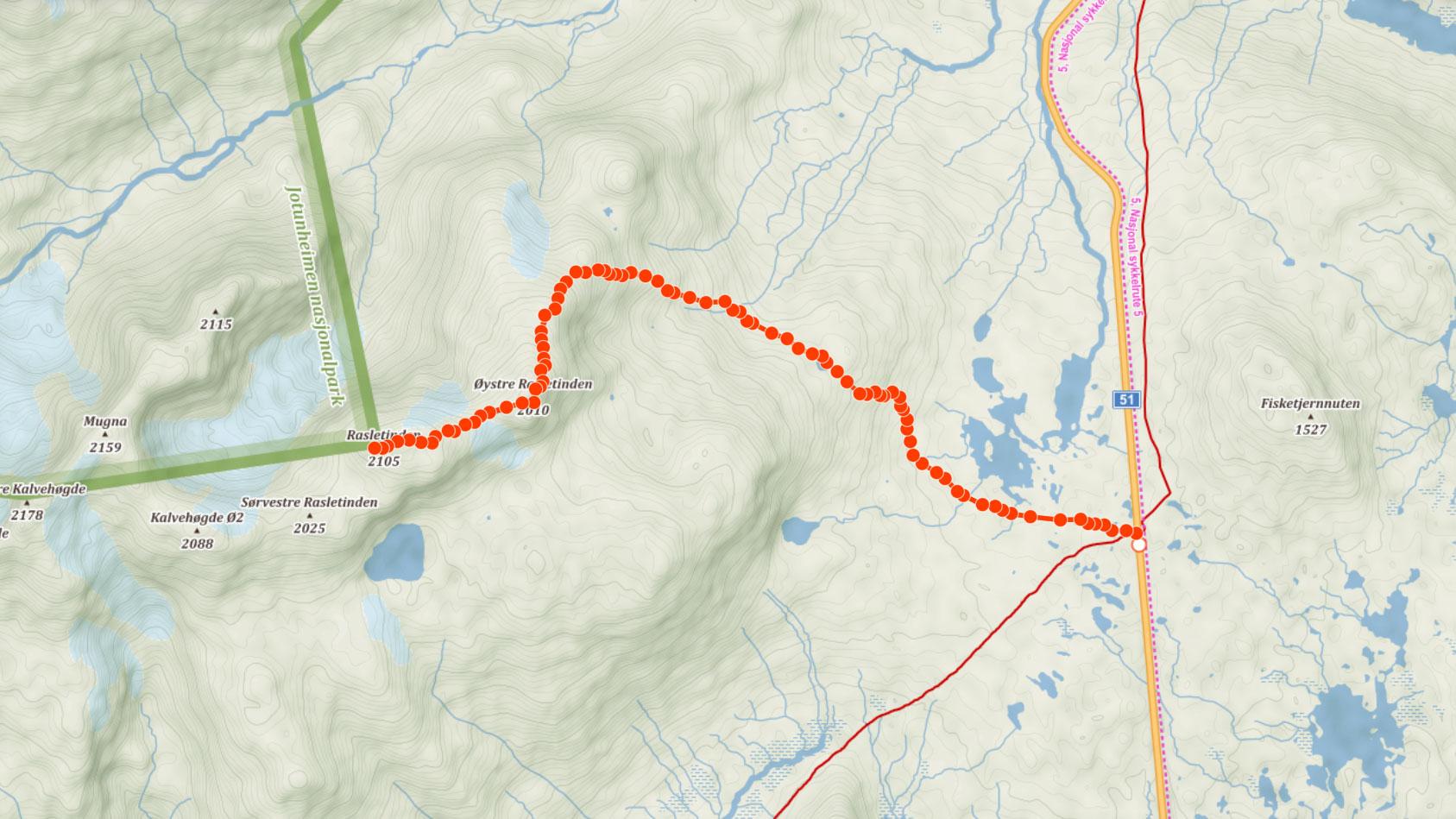 Trasa na horu Rasletinden v národním parku Jotunheimen v Norsku